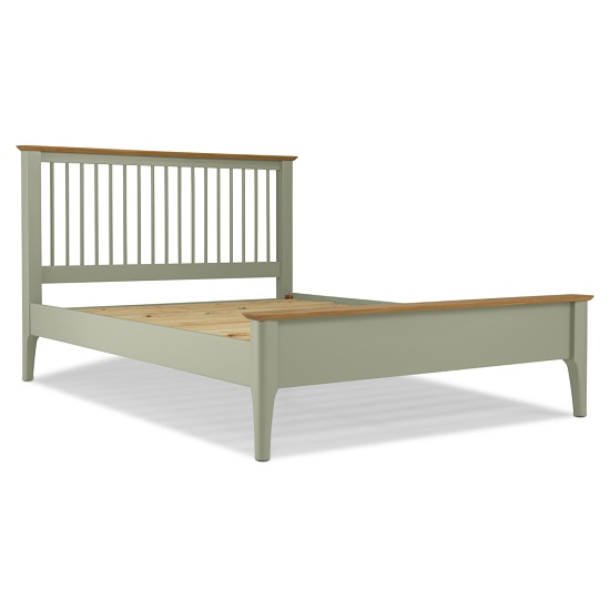 Simona Wooden Double Bed In Sage Green_4