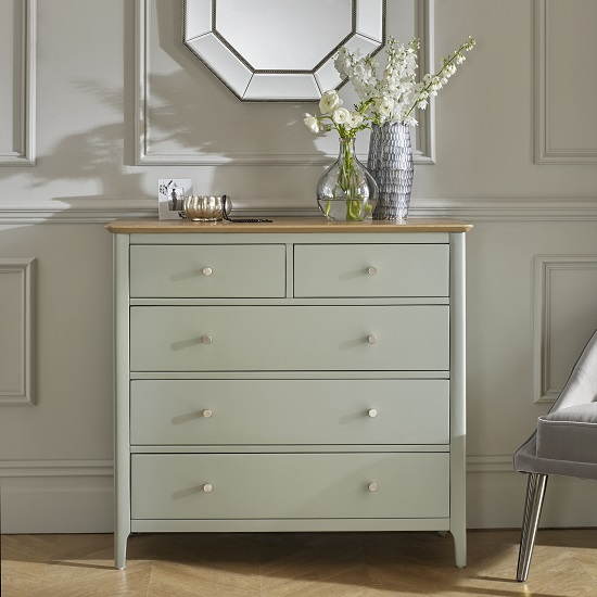 Simona Chest Of Drawers In Sage Green With 5 Drawers_1