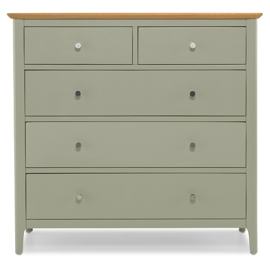 Simona Chest Of Drawers In Sage Green With 5 Drawers_4