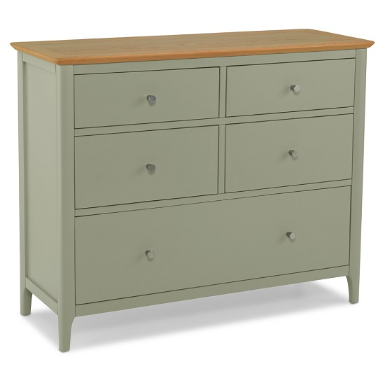 Simona Wooden Chest Of Drawers In Sage Green With 5 Drawers