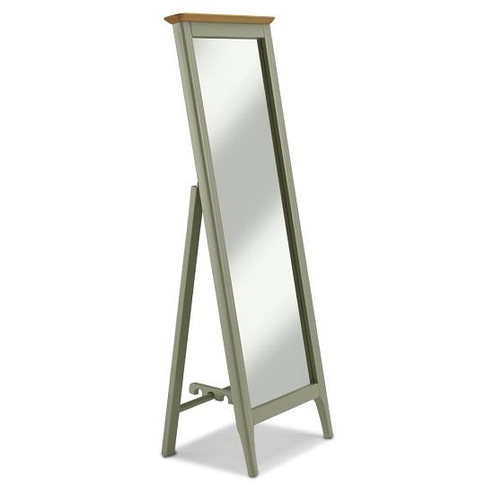 Simona Wooden Floor Standing Cheval Mirror In Sage Green