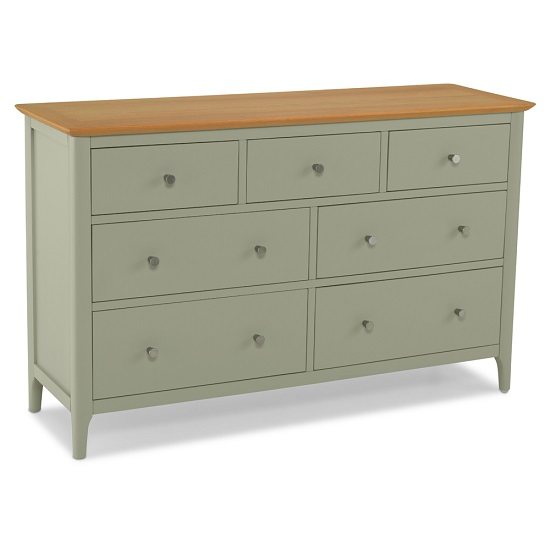 Simona Chest Of Drawers Wide In Sage Green With 7 Drawers_1