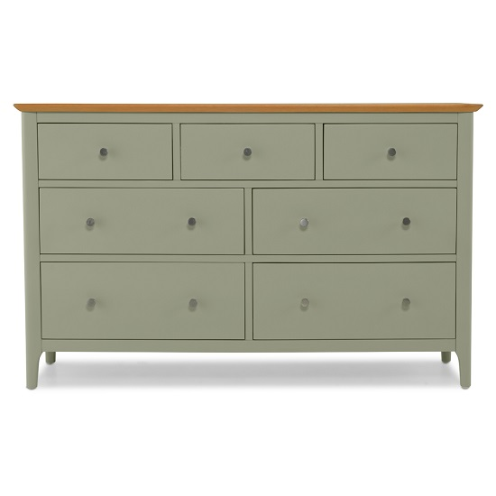 Simona Chest Of Drawers Wide In Sage Green With 7 Drawers_3