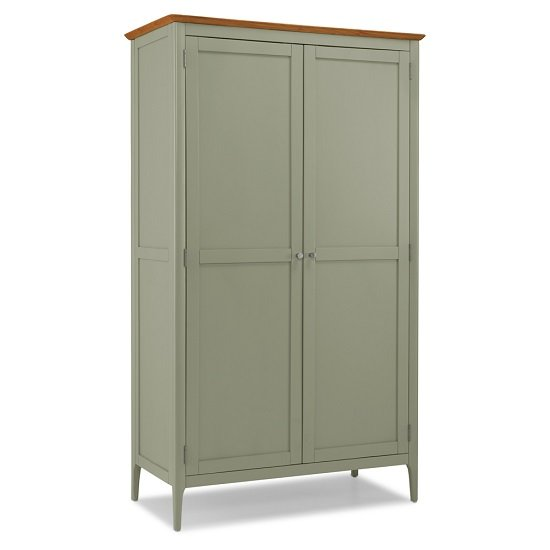 Simona Wooden Wardrobe In Sage Green With 2 Doors