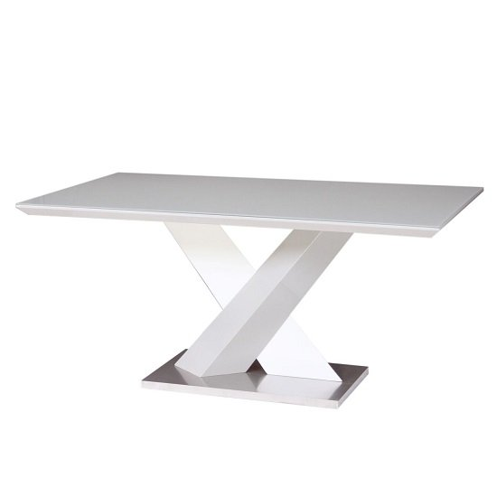 Simone Glass Dining Table In Grey And White High Gloss