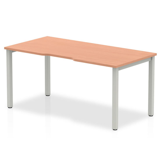 Single Large Laptop Desk In Beech With Silver Frame