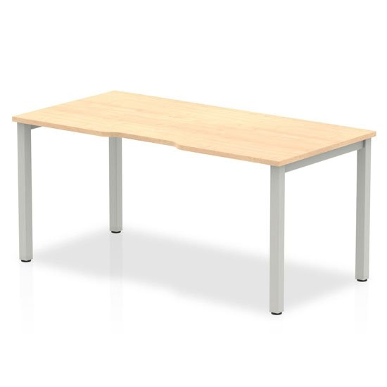 Single Large Laptop Desk In Maple With Silver Frame
