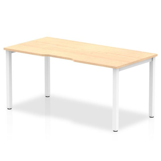 Single Large Laptop Desk In Maple With White Frame_1