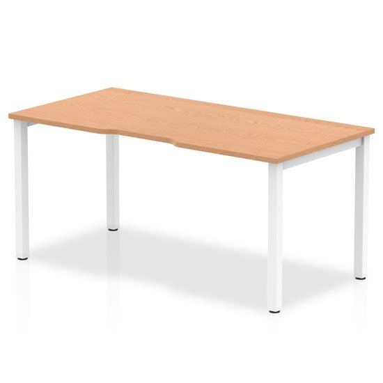 Single Large Laptop Desk In Oak With White Frame
