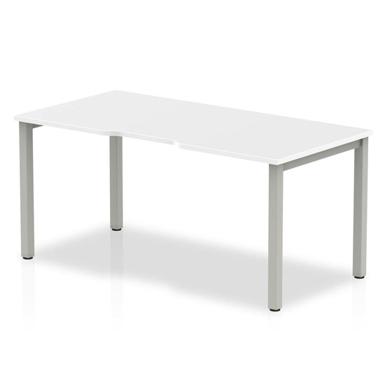 Single Large Laptop Desk In White With Silver Frame