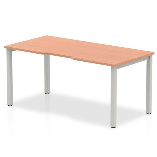 Single Medium Laptop Desk In Beech With Silver Frame