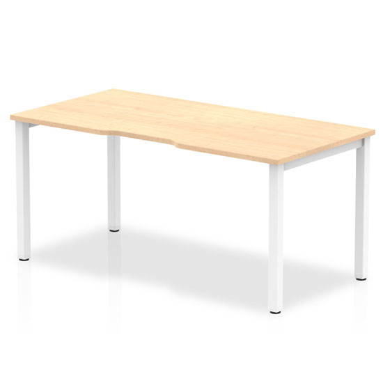 Single Medium Laptop Desk In Maple With White Frame