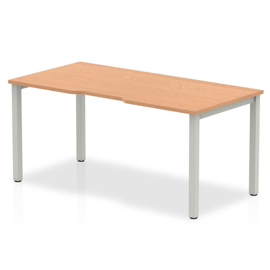 Single Medium Laptop Desk In Oak With Silver Frame