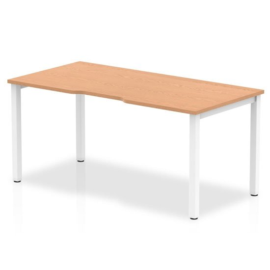 Single Medium Laptop Desk In Oak With White Frame_1