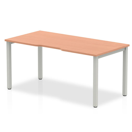 Single Small Laptop Desk In Beech With Silver Frame