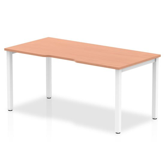 Single Small Laptop Desk In Beech With White Frame