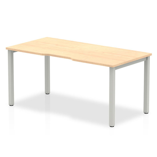 Single Small Laptop Desk In Maple With Silver Frame