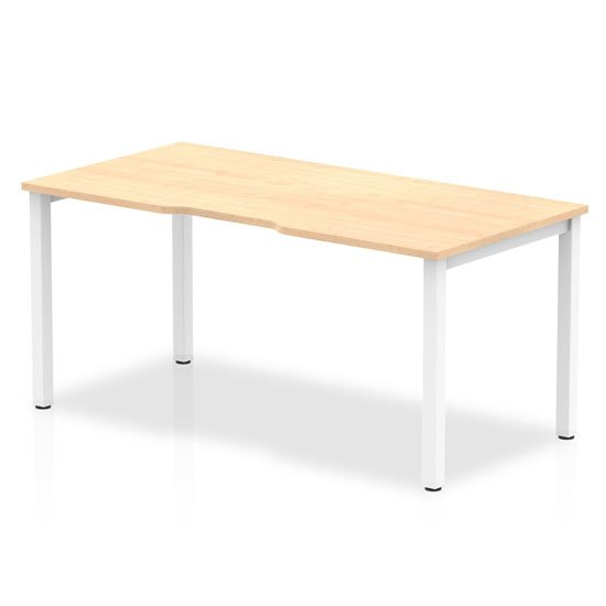 Single Small Laptop Desk In Maple With White Frame