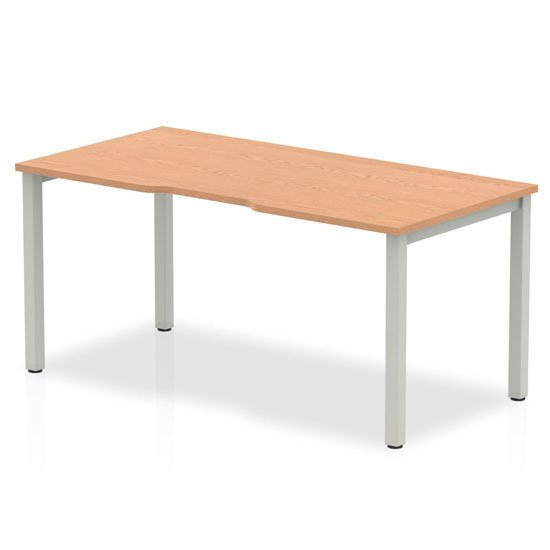 Single Small Laptop Desk In Oak With Silver Frame