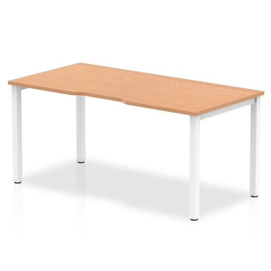 Single Small Laptop Desk In Oak With White Frame