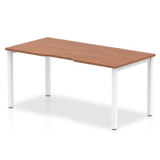 Single Small Laptop Desk In Walnut With White Frame