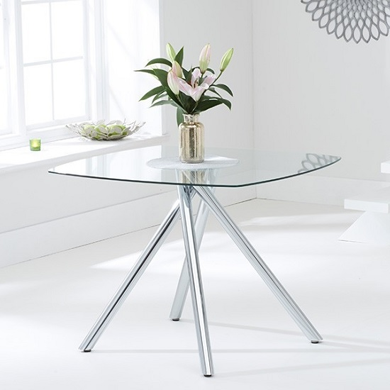 Sinio Glass Dining Table Square In Clear With Chrome Legs