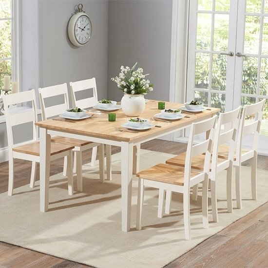 Bremen Dining Table In Oak And Cream With 6 Dining Chairs_1