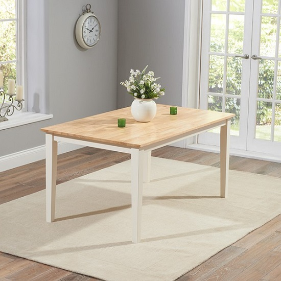 Bremen Dining Table In Oak And Cream With 6 Dining Chairs_2