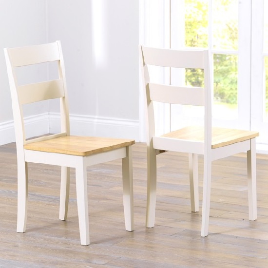 Bremen Dining Table In Oak And Cream With 6 Dining Chairs_3