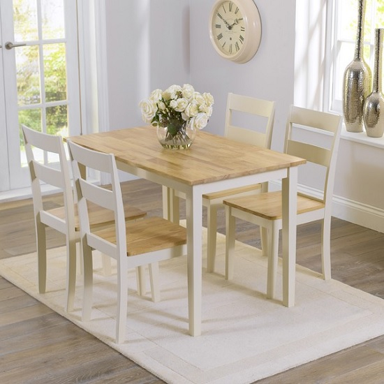 Broman Dining Table In Oak And Cream With 4 Dining Chairs