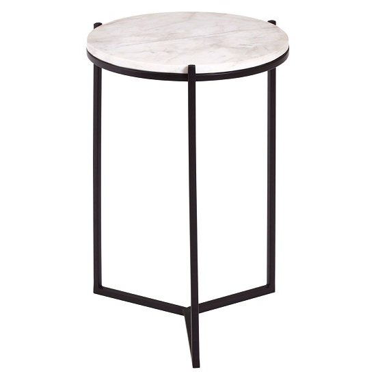 Pipoltr Black Metal Base With Round Marble Top Side Table