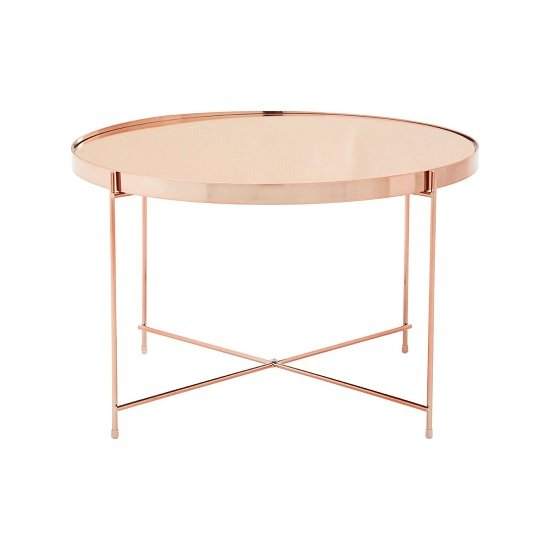 Sirius Mirrored Side Table Large In Pink And Metal Frame