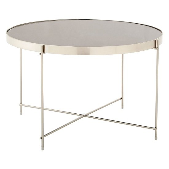 Sirius Mirrored Side Table Large In Grey And Metal Frame