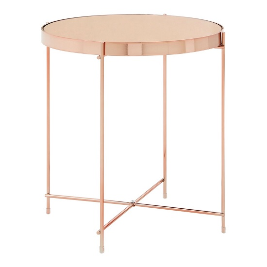 Sirius Mirrored Side Table Low In Pink And Metal Frame
