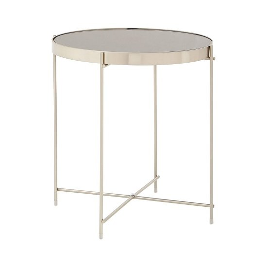 Sirius Mirrored Side Table Low In Grey And Metal Frame