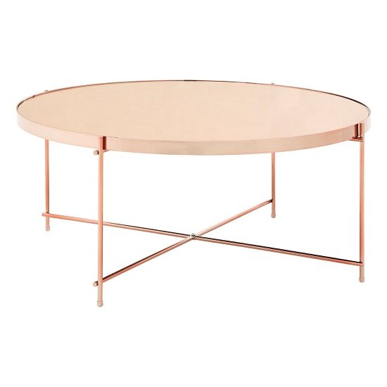 Sirius Mirrored Coffee Table In Pink And Metal Frame