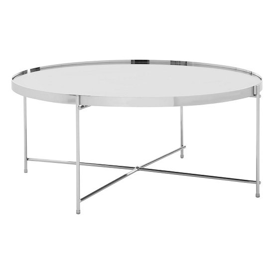 Sirius Mirrored Coffee Table Round In Silver And Metal Frame