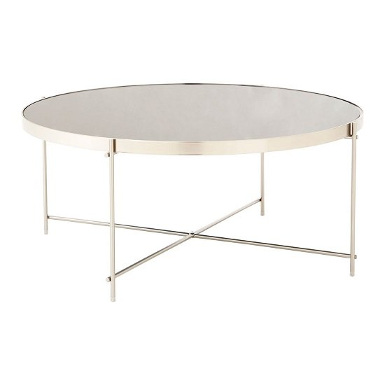 Sirius Mirrored Coffee Table In Grey And Metal Frame