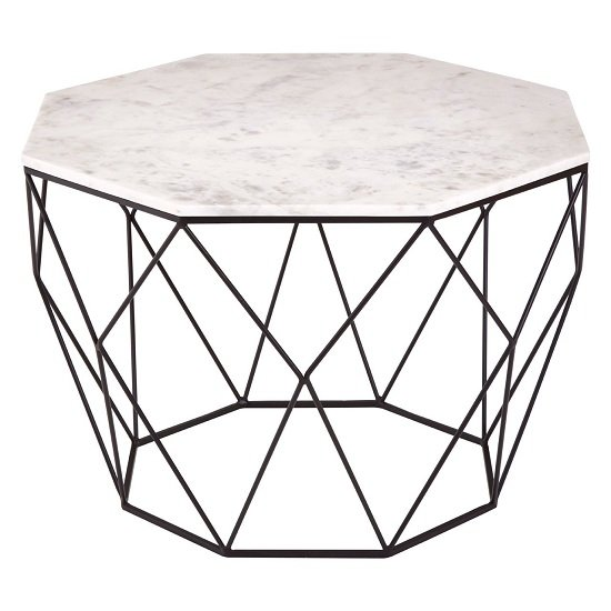 Pipoltr Octagon Marble Marble And Metal Table In Black