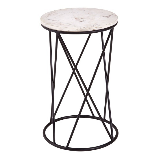 View Pipoltr cross design round marble and metal side table in black