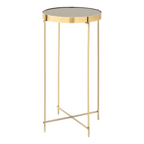 Sirius Mirrored Side Table Tall In Black With Gold Metal Frame