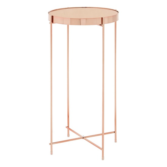 Sirius Mirrored Side Table Tall In Pink And Metal Frame