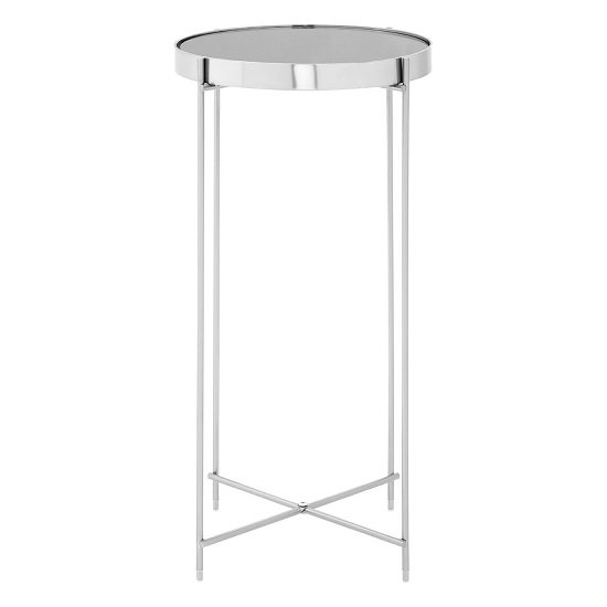 Sirius Mirrored Side Table Tall In Grey And Metal Frame