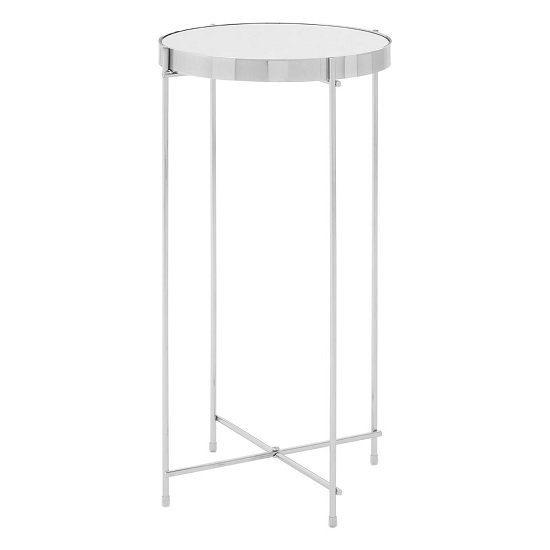 Sirius Side Table Tall In Mirrored Glass And Metal Frame