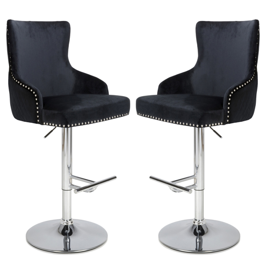 Sirocco Black Brushed Velvet Bar Stools In Pair
