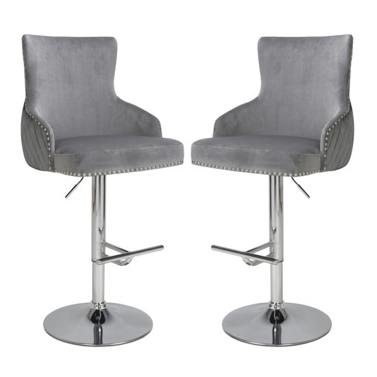 Sirocco Grey Brushed Velvet Bar Stools In Pair