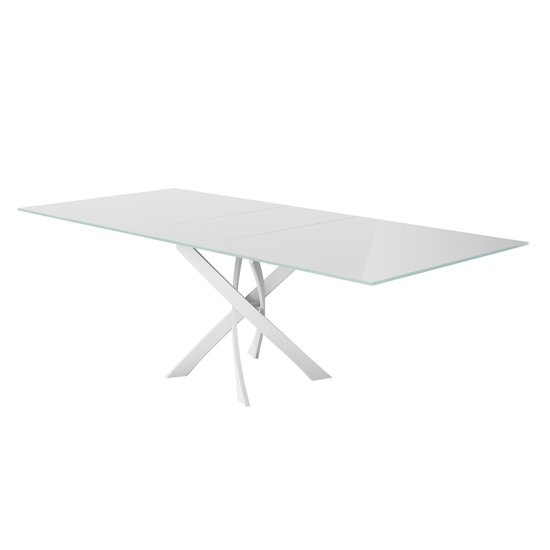 Sirocco Swivel Extending White Glass Dining Table