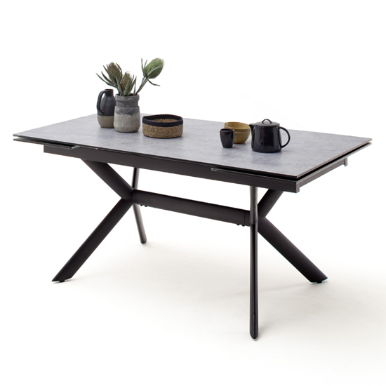 Siros Extending Glass Dining Table In Concrete Effect_2