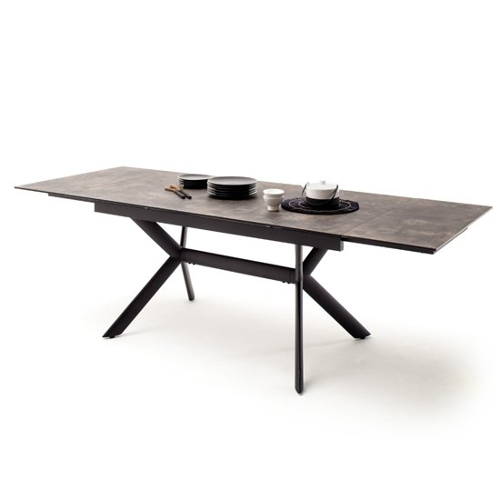 Siros Extending Glass Dining Table In Stone Brown Effect