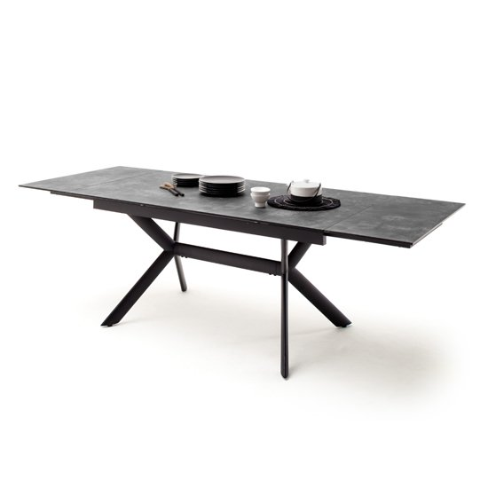 Siros Extending Glass Dining Table In Stone Grey Effect
